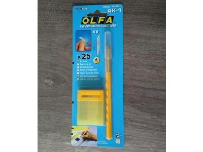 Rezací skalpel AK-1 + 25 náhradných čepelí OLFA