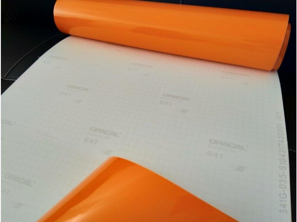 Oranžová 035 lesklá fólia Oracal 641 100x100cm
